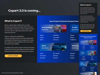 3.0 is coming... inventory design ux auto homepage auction responsive mobile ui website copart