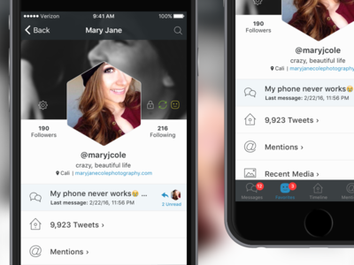 TBA Twitter App - Profile View mobile ui iphone app messaging profile twitter ios