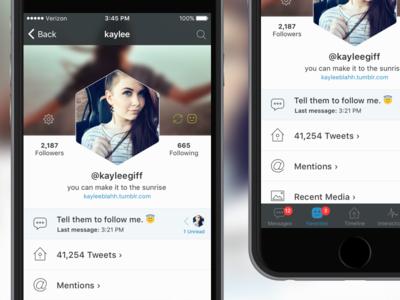 TBA Twitter App - Profile View (Updated) kaylee mobile ui profile twitter messaging iphone ios app