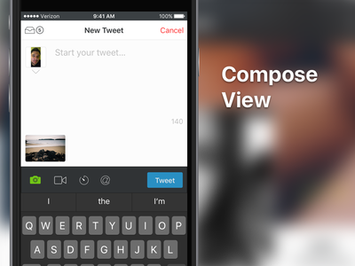 TBA Twitter App - Compose View kaylee compose ui twitter mobile messaging messages iphone ios app