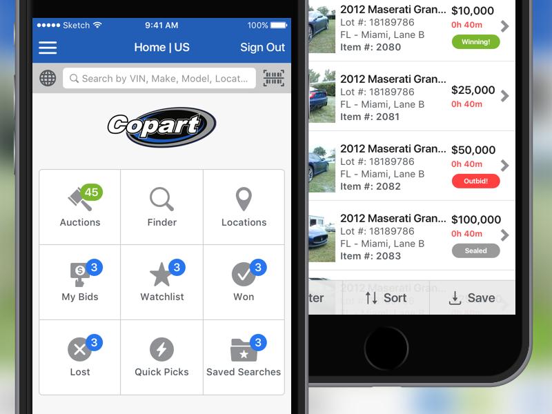 Copart 4.0 iphone app auction copart ios ui mobile