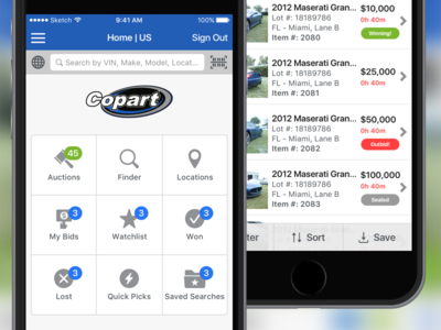Copart 4.0 iphone app auction copart ios ui mobile