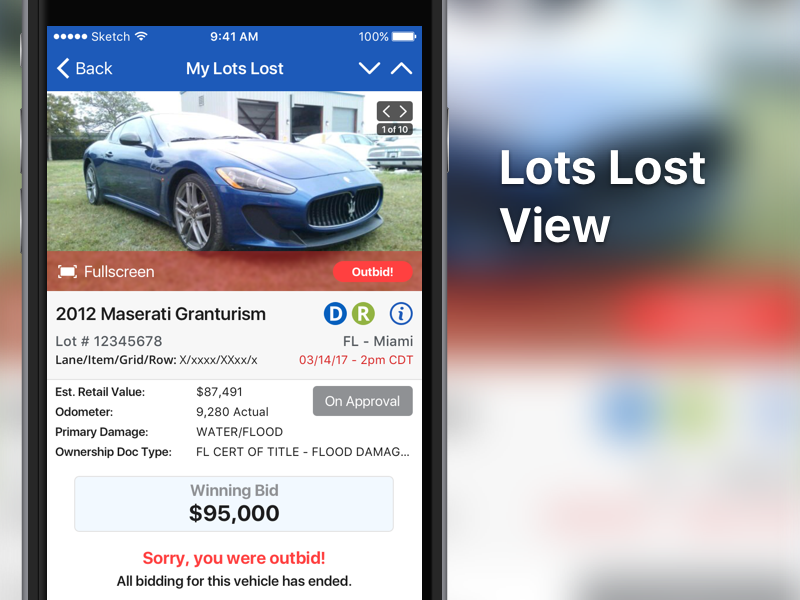 Lots Lost ui mobile iphone ios copart auction app
