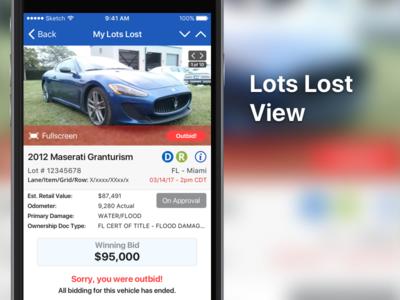 Lots Lost ui mobile iphone ios copart auction app