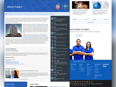 About Us landing copart ui responsive rwd about website