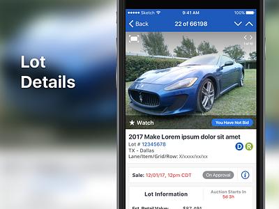 Lot Details ui mobile iphone ios profile auction app
