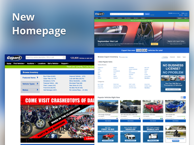 New Copart Homepage recommended trending salvage auction auto responsive homepage ui website