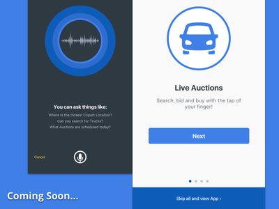 Mobile App Update coming welcome tour voice design auto auction ios app mobile ui