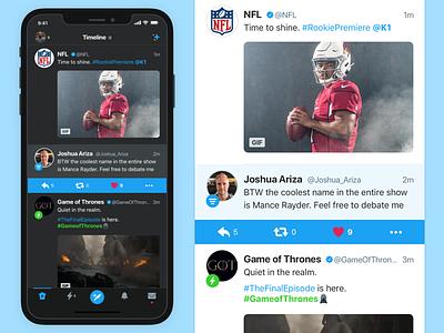 For Fun: Redesigning Twitter for iOS dark ui dark mode game of thrones nfl ux design ui design ui twitter feed twitter ux design iphone mobile app ios