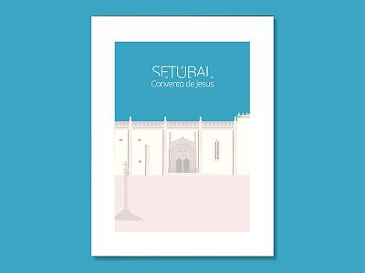 Jesus Christ Convent in Setúbal, Portugal illustration