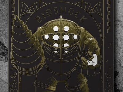 Mr. Bubbles Turns Ten foil gold poster illustration daddy big game video bioshock