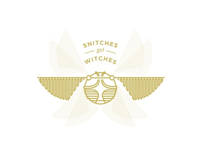 Snitches Get Stitches badge icon gold monoline seeker quidditch snitch potter harry