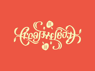 Creative South Ambigram necks hug peach script type lettering hand 2018 ambigram south creative