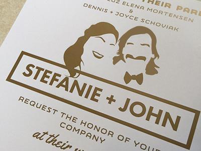 srtefanie+john wedding invite silhouette ink gold invite wedding