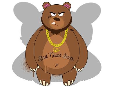 Bad News Bear tough gold chain bear adobe illustrator digital illustration illustration vector