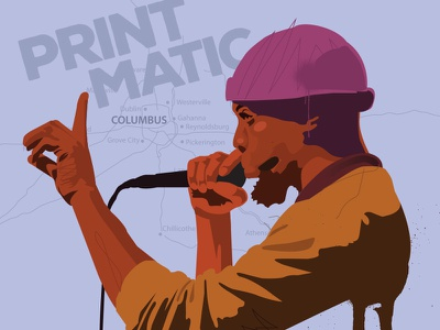 Blueprint (Printmatic)  rhymesayers greenhouse effect printmatic blueprint ohio columbus ohio portrait hip-hop digital illustration illustration vector