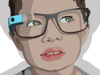 Boy Wearing Google Glass illustration vector portrait portrait vector child glass googleglass
