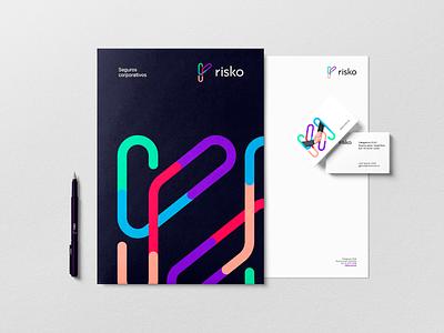 Risko bussiness card identity insurance fintech tech app design geometric vector trademark logotype brand branding symbol logo
