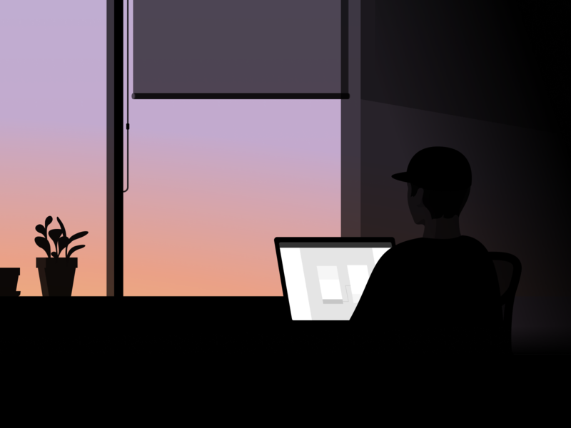 wfh night dusk window home working wfh person worker sunset computer illustration