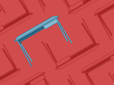 Red Desk icon furniture blue desk red illustration