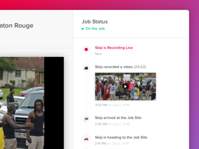 Job Status Bar ux ui job progress live tool b2b interface web video status