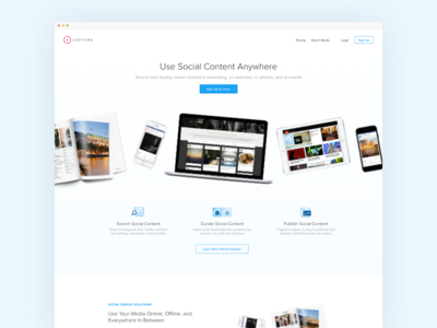 Capture Homepage Concept devices minimal social b2b marketing page landing homepage ui ux