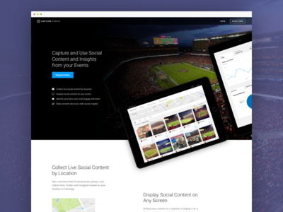 Capture Events Homepage b2b ux ui social sports marketing landing homepage web