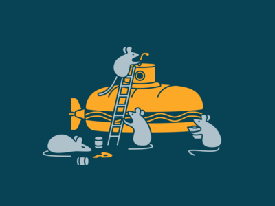 Hackathon Illustration hack hackathon sandwich bread rat mouse sub submarine illustration