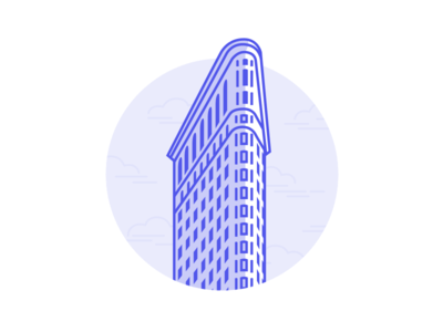 Flatiron Building architecture blue city manhattan new york nyc skyscraper building flatiron illustration