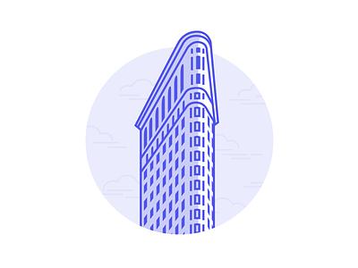 Flatiron Building architecture blue city manhattan new york nyc skyscraper building flatiron illustration