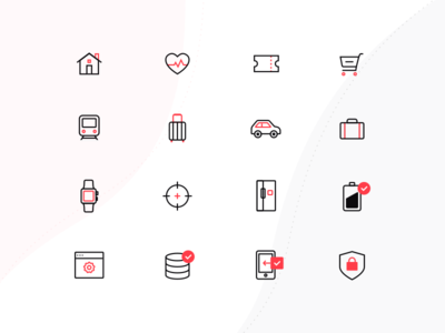 Black and Red Line Icons red black settings security battery luggage travel watch shopping car house icons