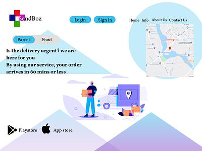 courier service illustration design minimal icon ui logo figma courier app courier service