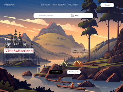 swiss guide ui design design bookings illustrations travelling travel agency