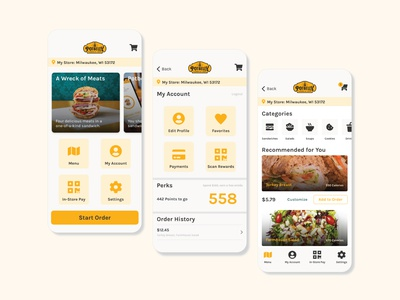 Potbelly App Redesign ux ui food app menu food potbelly app app design