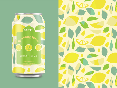Lemon Lime Sparkling Water label packaging label design cbd label design cbd lemonade sparkling water can pattern can mockup food packaging design food packaging food industry branding and identity branding identity branding design agency branding lemonade illustration agency lemon pattern