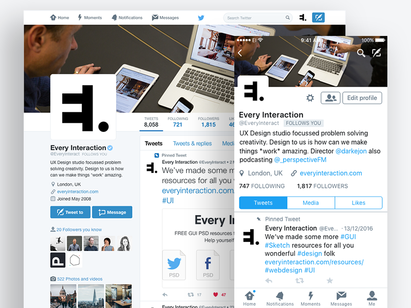 Twitter Profile GUI PSD/Sketch profile photoshop design ux ui mockup sketch psd gui twitter
