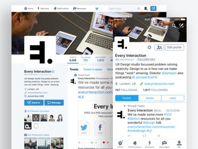 Twitter Profile GUI PSD/Sketch