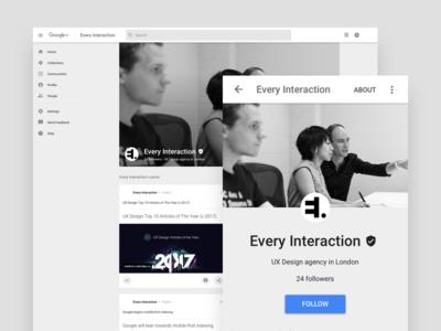 Google Profile GUI PSD/Sketch