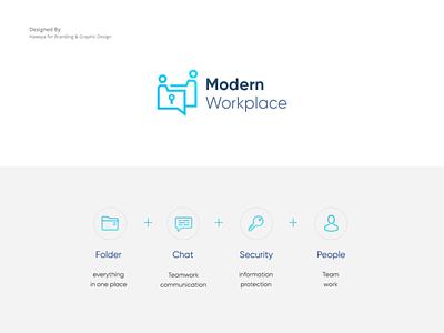 Modern Workplace Logo branding agency folder inspiration company identity brand logo design branding simple chat security creative logo