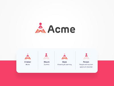 Acme Logo abstract logo trend learning platform learning course training center a letter illustrator simple inspiration logo designer identity branding logo design creative person logo a logo logo book education