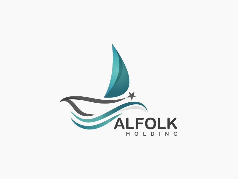 Alfolk logo boat sea company design logo