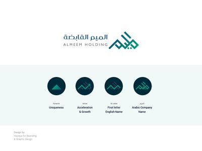 Almeem Holding branding pyramids arabic inspiration logo