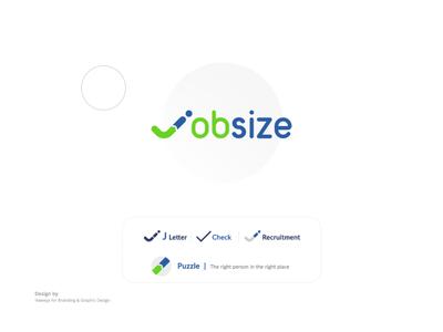 Job size logo simple logo design creative design puzzel design app check recruitment job logo