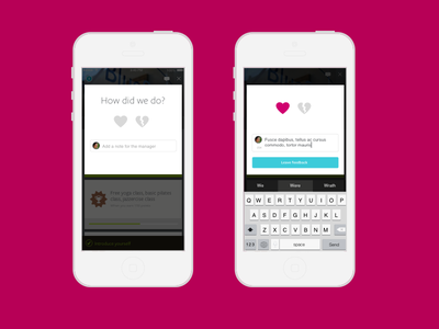 Feedback mobile hearts form feedback