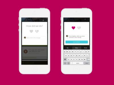 Feedback mobile hearts form feedback
