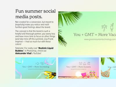 Fun Summer Social – Grab Your Hammock, Drink, and Flippers flamingo hammocks vacation palm trees bubbles nature green blue summer fun brand strategy branding social media social design