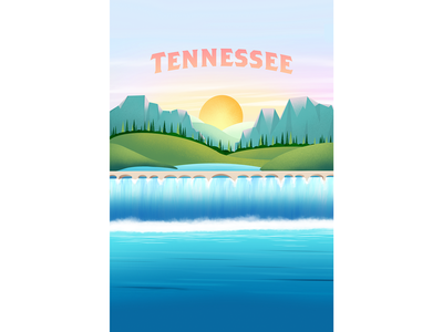 Tennessee Nature bridge waterfall landscape nature sun blue green illustration procreate