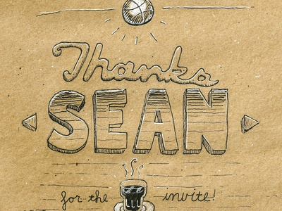 Thanks Sean! seanherman debut espresso dribbble invite handdrawn pen ink