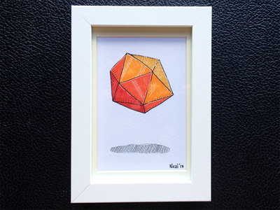 Icosahedron icosahedron geometry copic hand-drawn markers ink