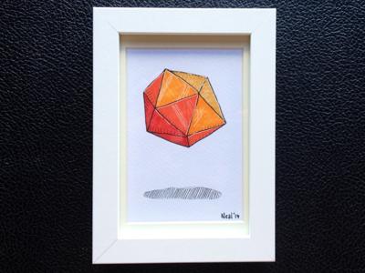 Icosahedron icosahedron geometry copic hand-drawn markers ink
